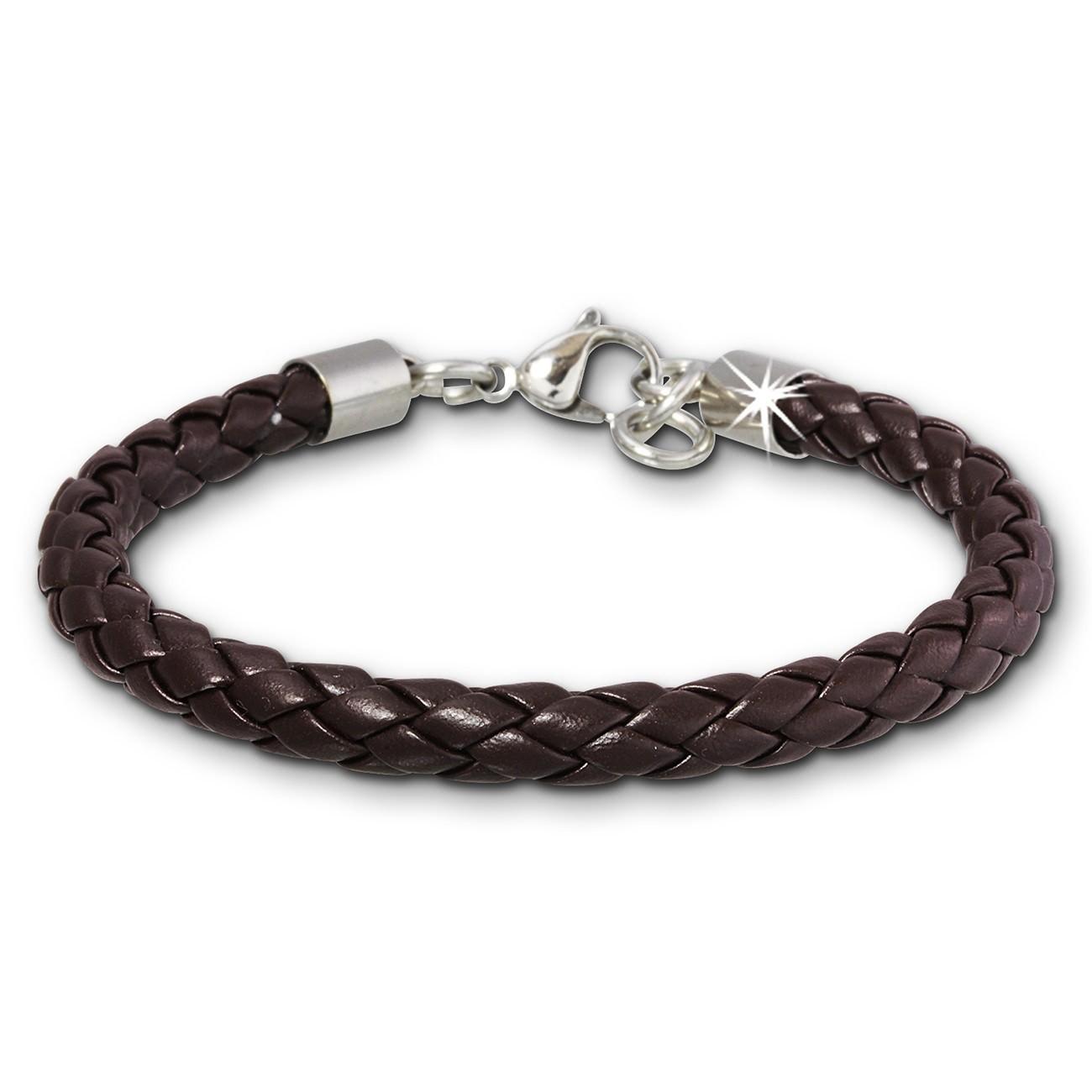 SilberDream Lederarmband geflochten braun Edelstahl Armband LAP008B