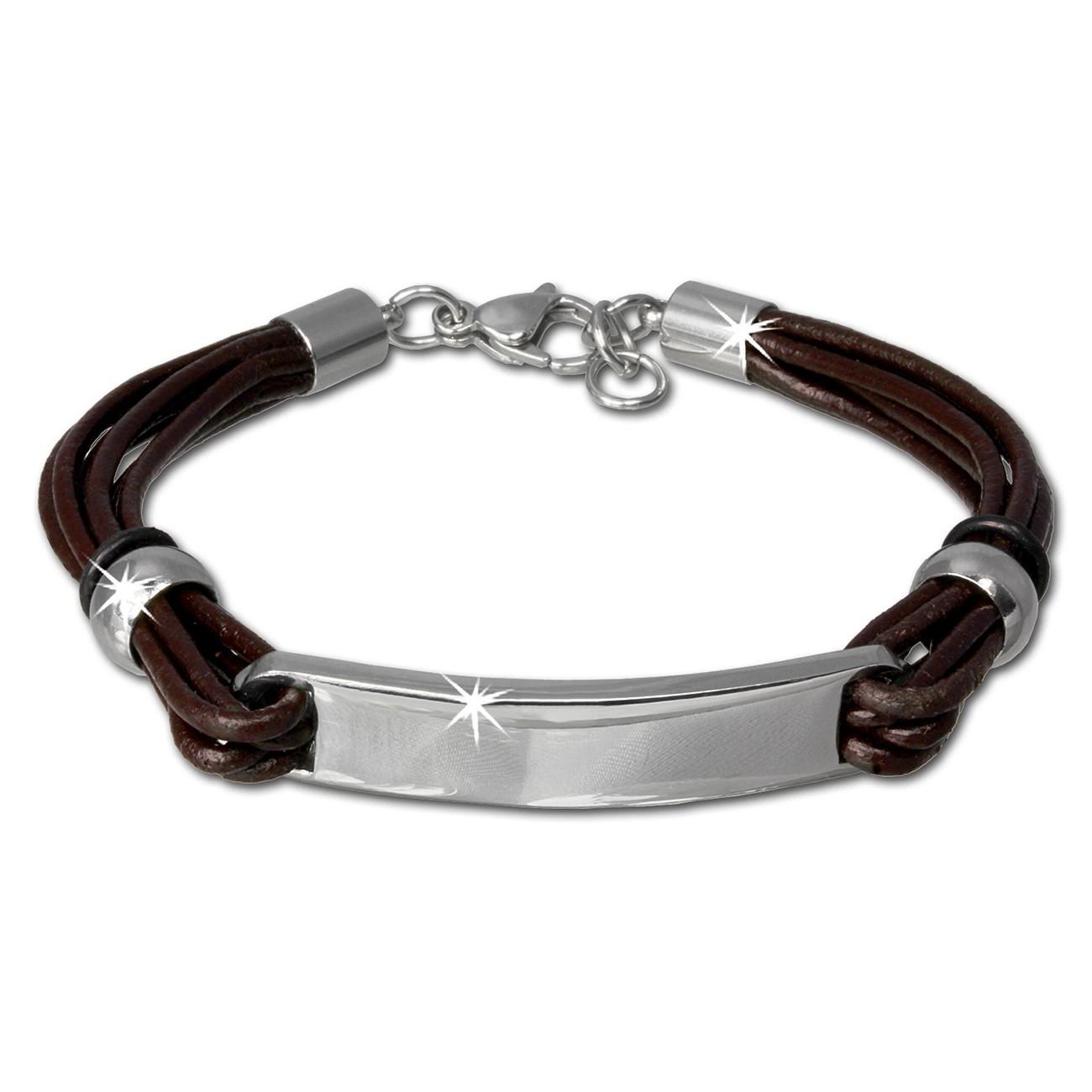 SilberDream Lederarmband Plakette braun Edelstahl Armband LAP009B