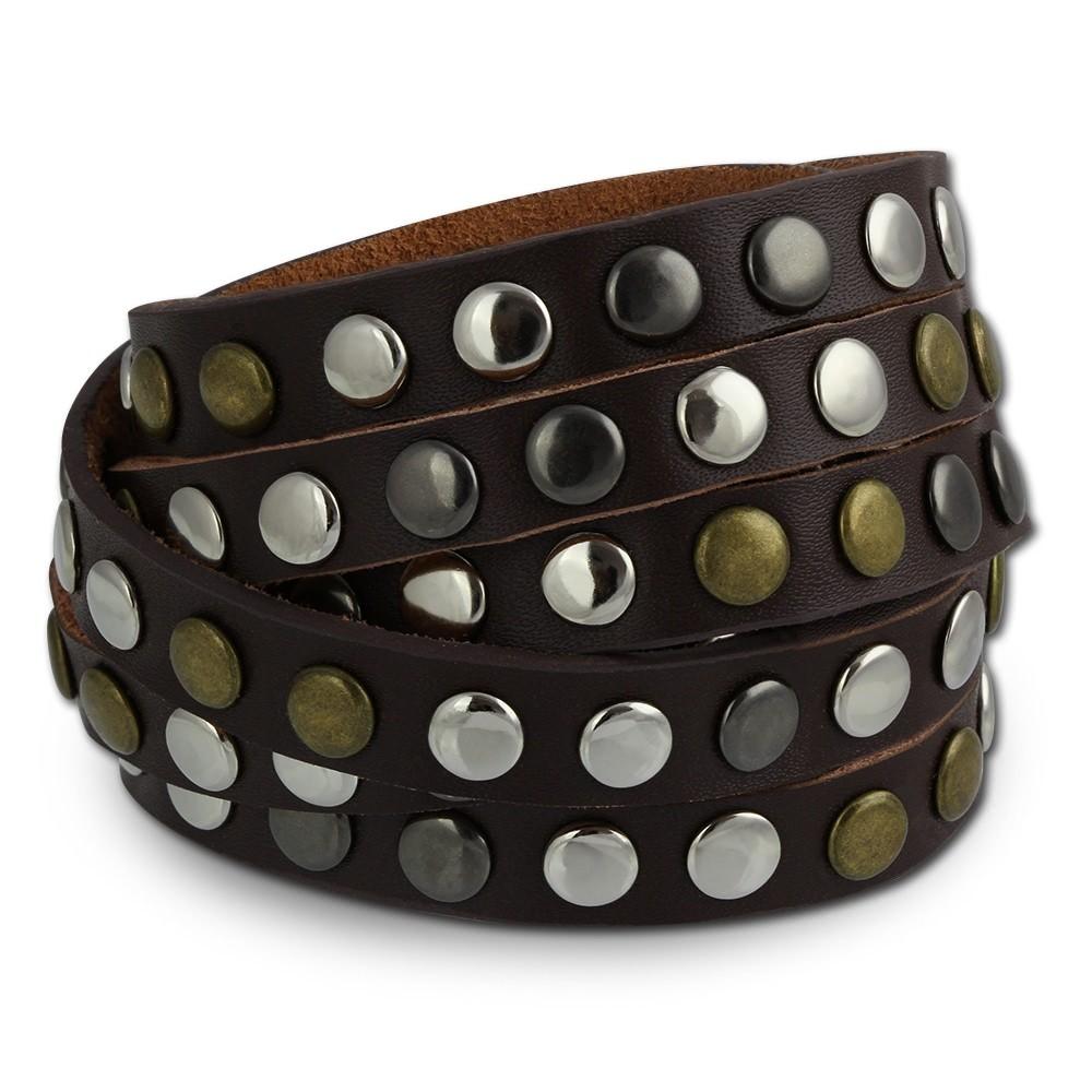 SilberDream Nieten-Lederarmband Wickeloptik braun Leder Armband LAP087B