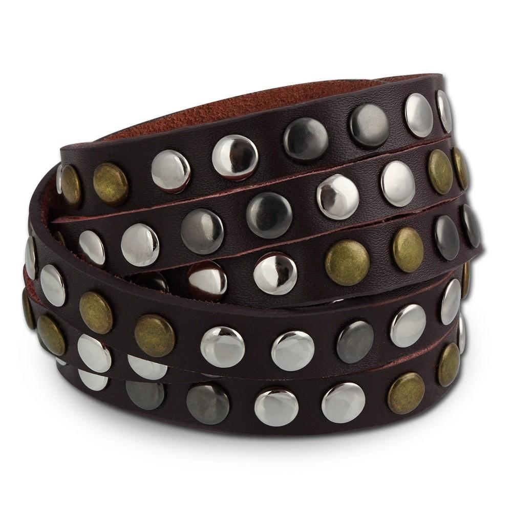 SilberDream Nieten-Lederarmband Wickeloptik rotbraun Leder Armband LAP087D
