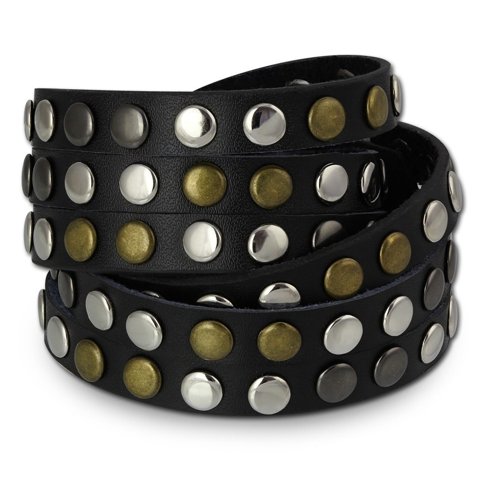 SilberDream Nieten-Lederarmband Wickeloptik schwarz Damen Leder Armband LAP087S