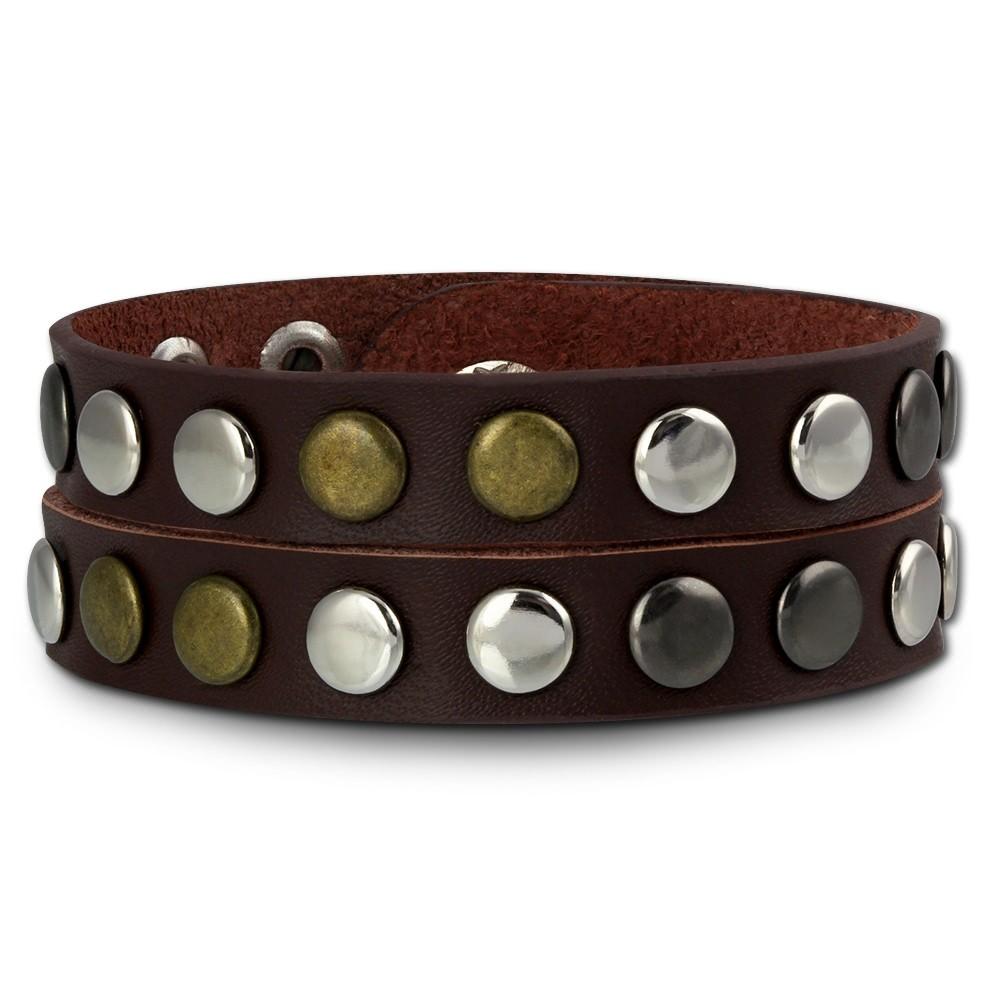 SilberDream Nieten-Lederarmband Wickeloptik rotbraun Damen Leder Armband LAP088D