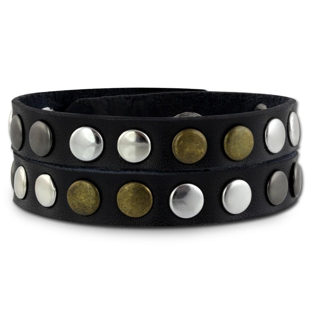 SilberDream Nieten-Lederarmband Wickeloptik schwarz Damen Leder Armband LAP088S