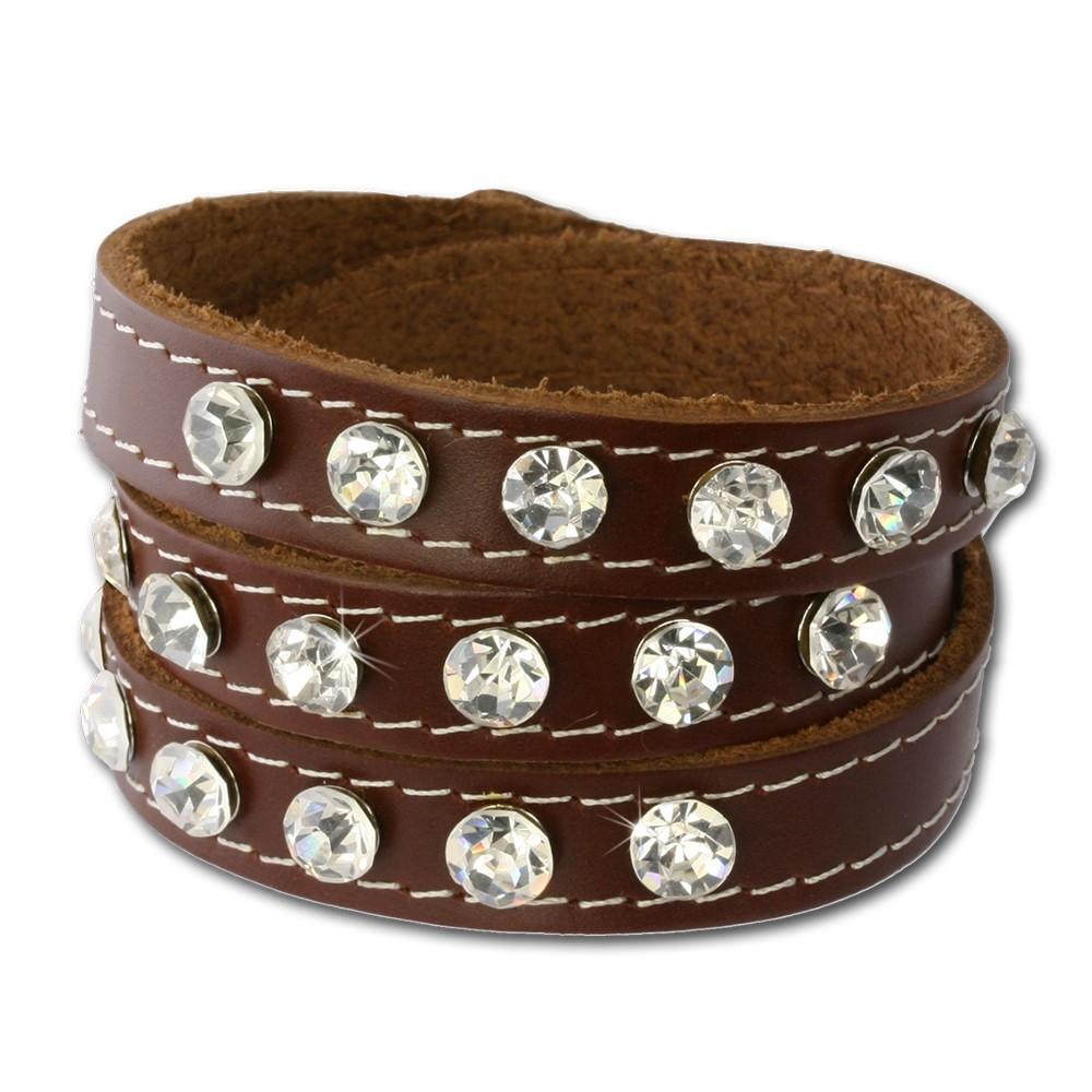 SilberDream Lederarmband braun Zirkonia Damen Leder Armband LAP228B