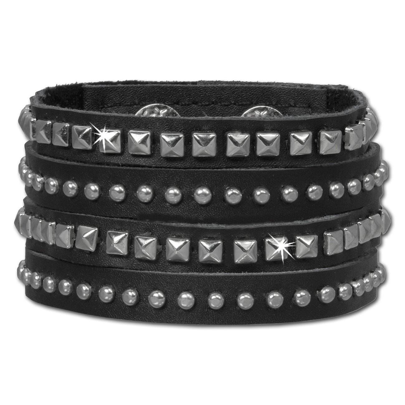 SilberDream Nieten-Lederarmband schwarz Damen Leder Armband LAP512S