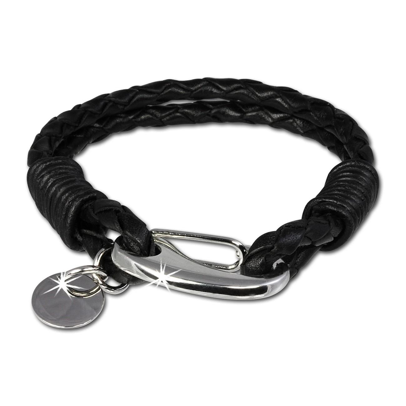 SilberDream Edelstahl Lederarmband schwarz Bolo-Armband LAP521S