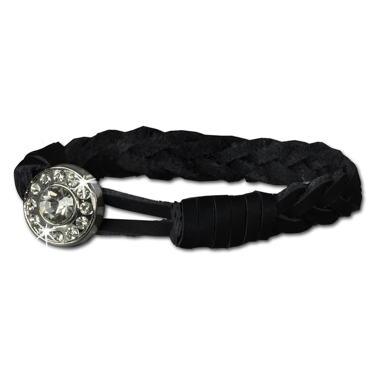 SilberDream Damen Lederarmband schwarz Glitzerverschluss Armband LAP522S