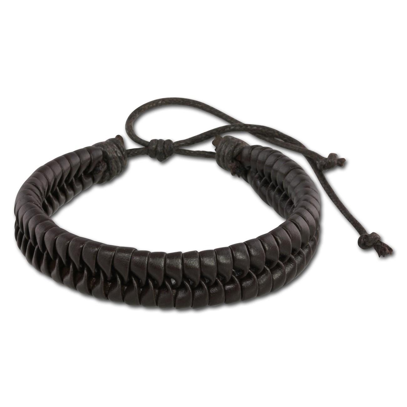 SilberDream Unisex Lederarmband braun Flechtleder Armband LAP532B
