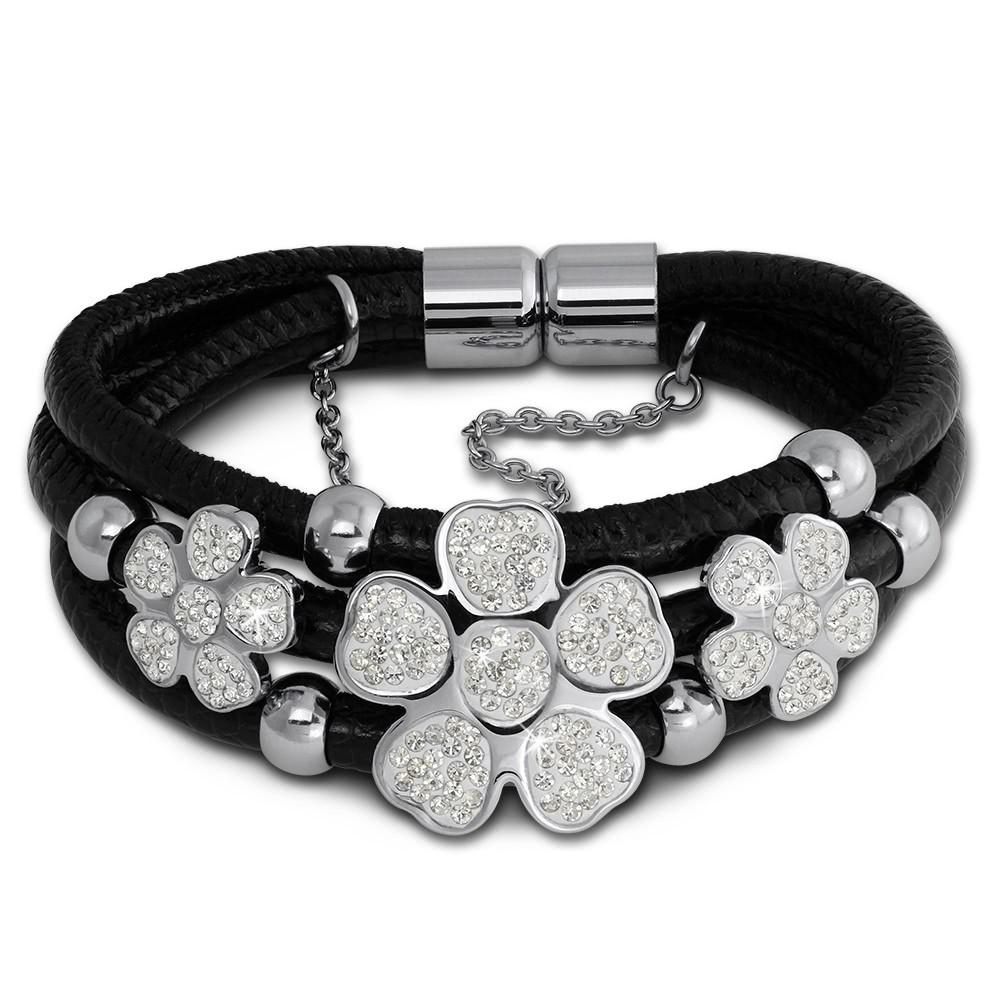Amello Nappa-Leder Armband schwarz Zirkonia Blüte Edelstahl Verschluss LAQ003S9