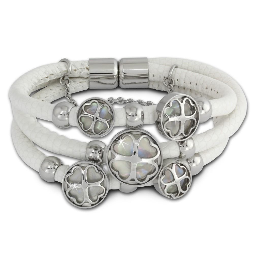 Amello Nappa-Leder Armband weiß Kleeblatt Edelstahl Magnet Verschluss LAQ005W9
