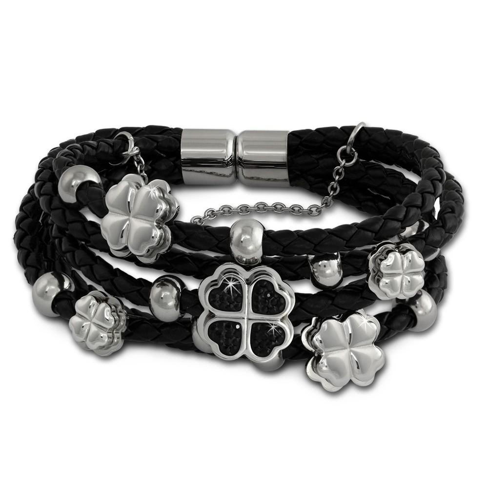 Amello Leder Armband schwarz Herz-Blume 21cm Zirkona schwarz Edelstahl LAQ007S1