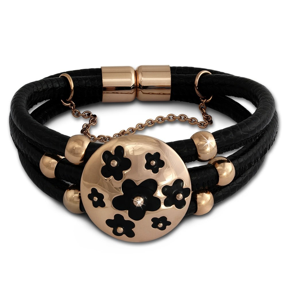 Amello Nappa-Leder Armband schwarz Blumen Edelstahl rosevergoldet LAQ011S9