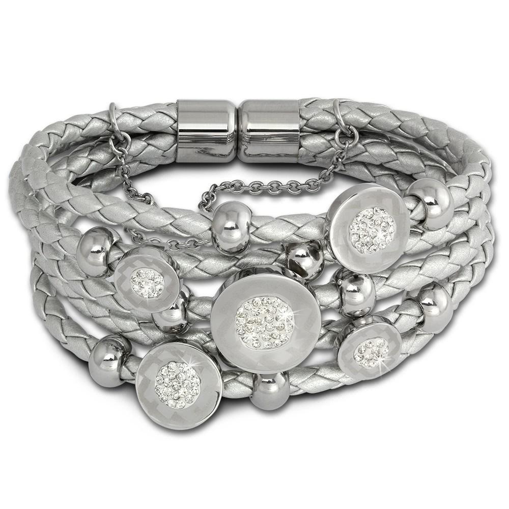 Amello Leder Armband silber Kreise Zirkona weiß Edelstahl Verschluss LAQ013J9