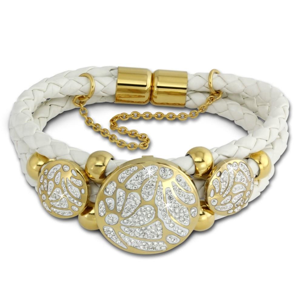 Amello Leder Armband weiß Kreise vergoldet Edelstahl Magnet Verschluss LAQ015W1