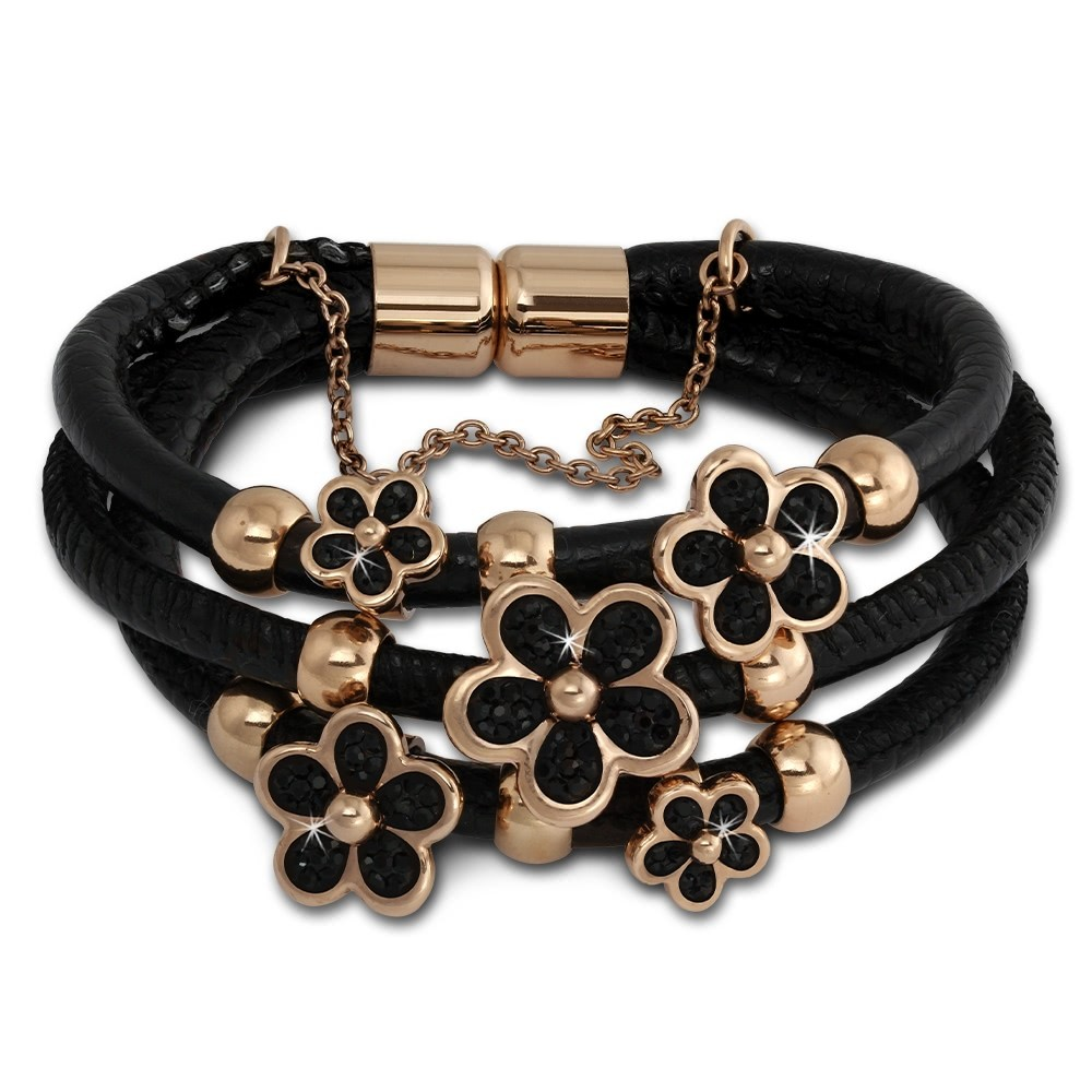 Amello Leder Armband schwarz Zirkona Blüte Edelstahl rosevergoldet LAQ017S1