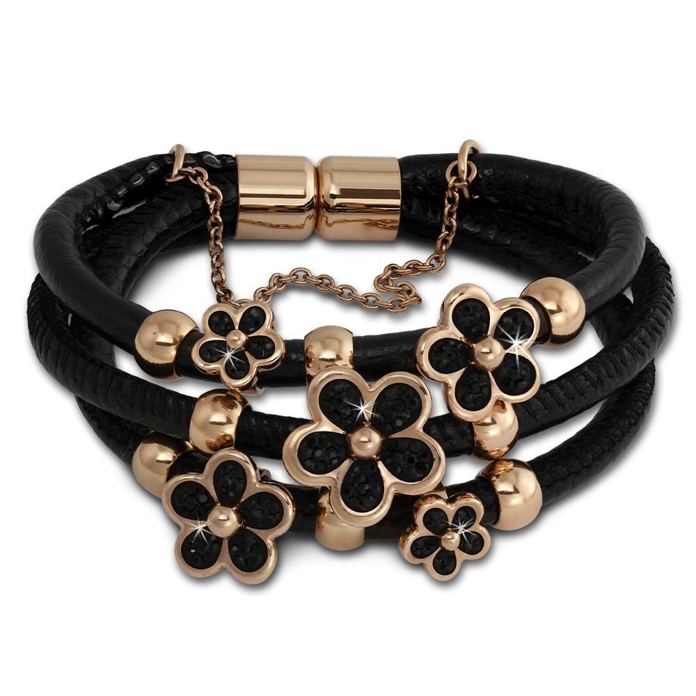 Amello Leder Armband schwarz Zirkona Blüte Edelstahl rosevergoldet LAQ017S9