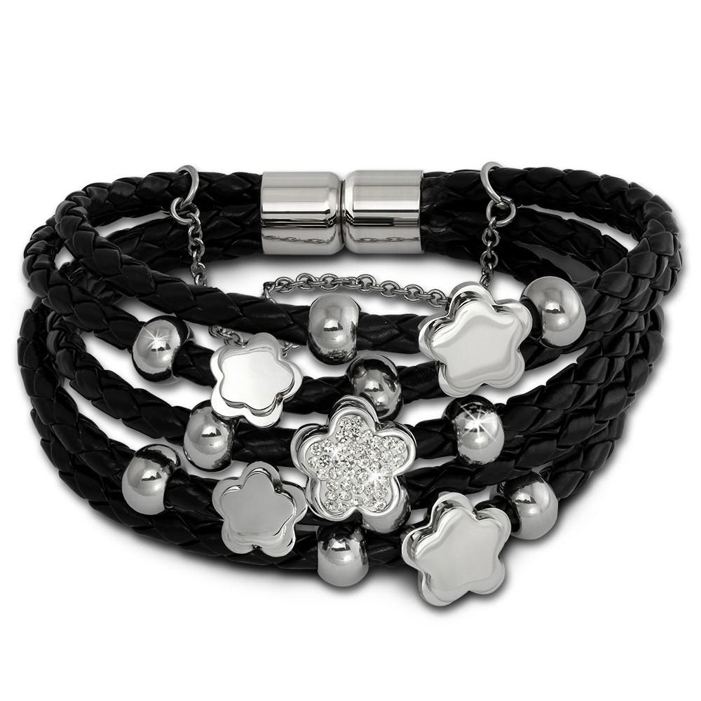 Amello Leder Armband schwarz Blümchen Zirkona weiß Edelstahl Verschluss LAQ019S1