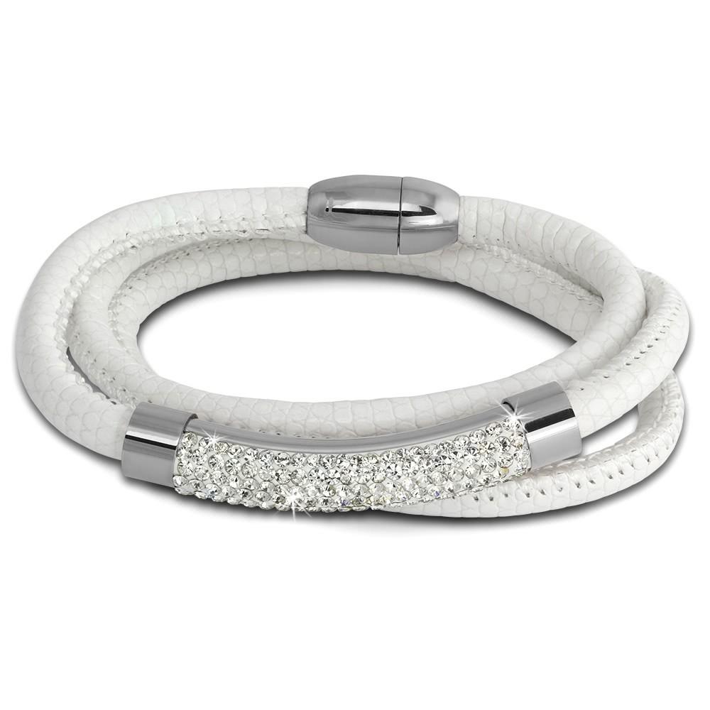 Amello Nappa Leder Armband 20cm Zirkonia weiß Edelstahlband Steel LAQ024W1