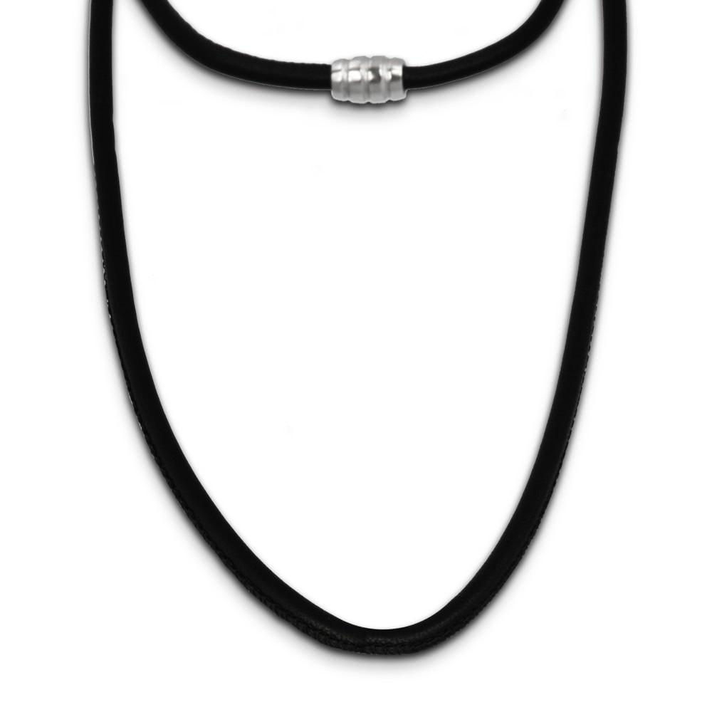 SilberDream Nappa Leder Kette schwarz mit 925er Verschluss LS0407