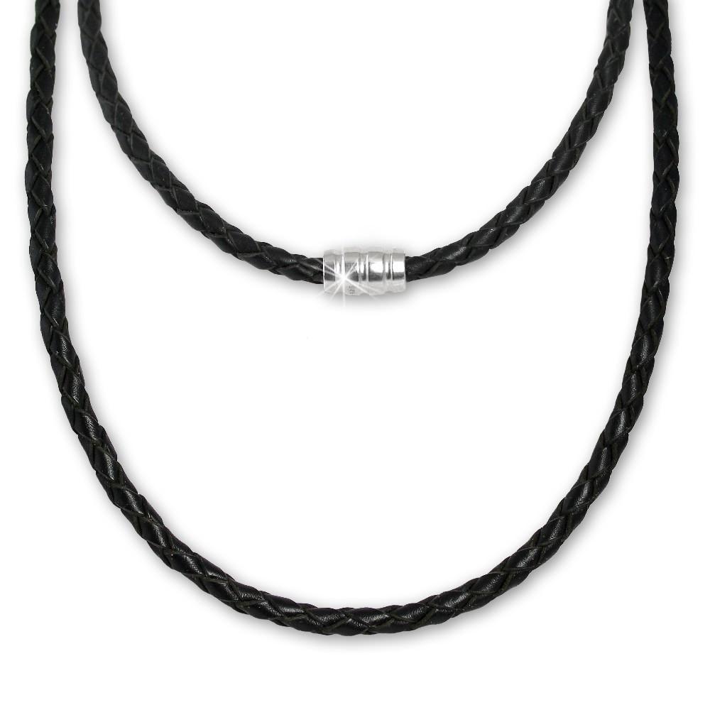 SilberDream Leder Kette geflochten 45cm schwarz mit 925er Verschluss LS0408