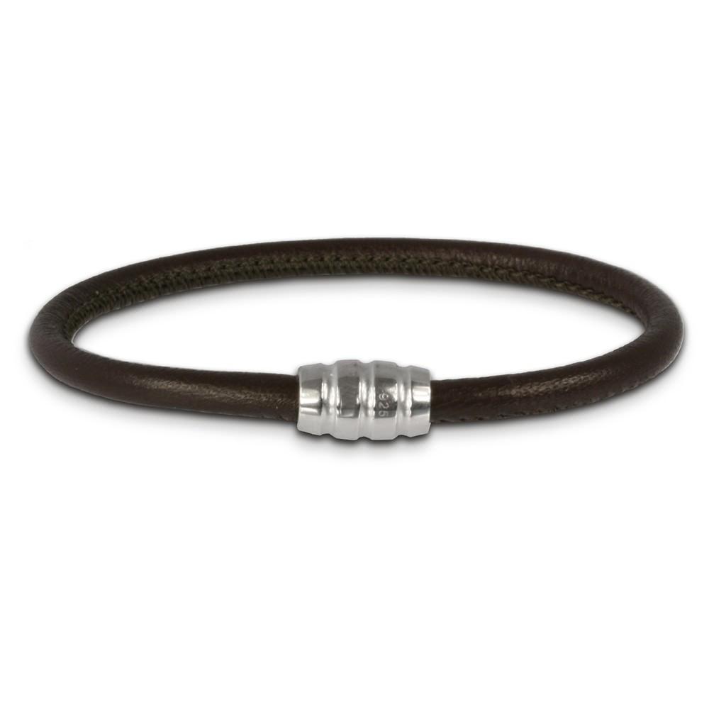 SilberDream Nappa Leder Armband braun mit 925er Verschluss LS0411
