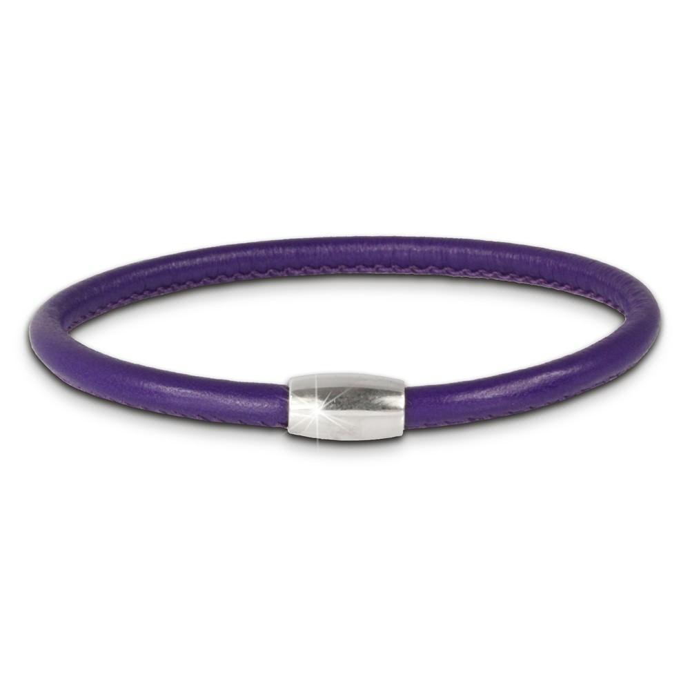 SilberDream Nappa Leder Armband lila mit 925er Verschluss LS0431