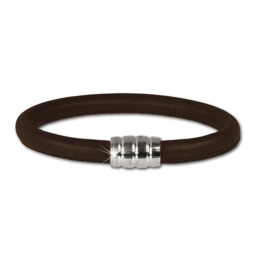 SilberDream Nappa Leder Armband braun 21cm mit 925er Verschluss LS0612