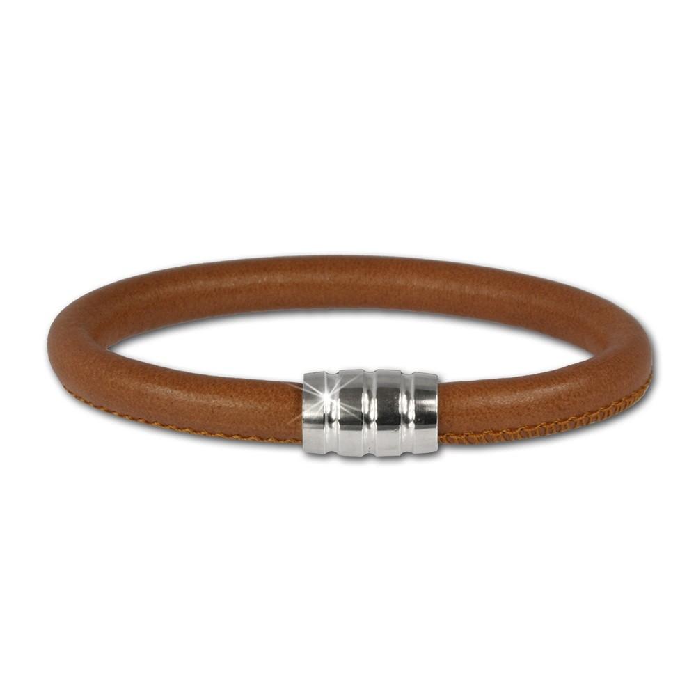 SilberDream Nappa Leder Armband cognac mit 925er Verschluss LS0641