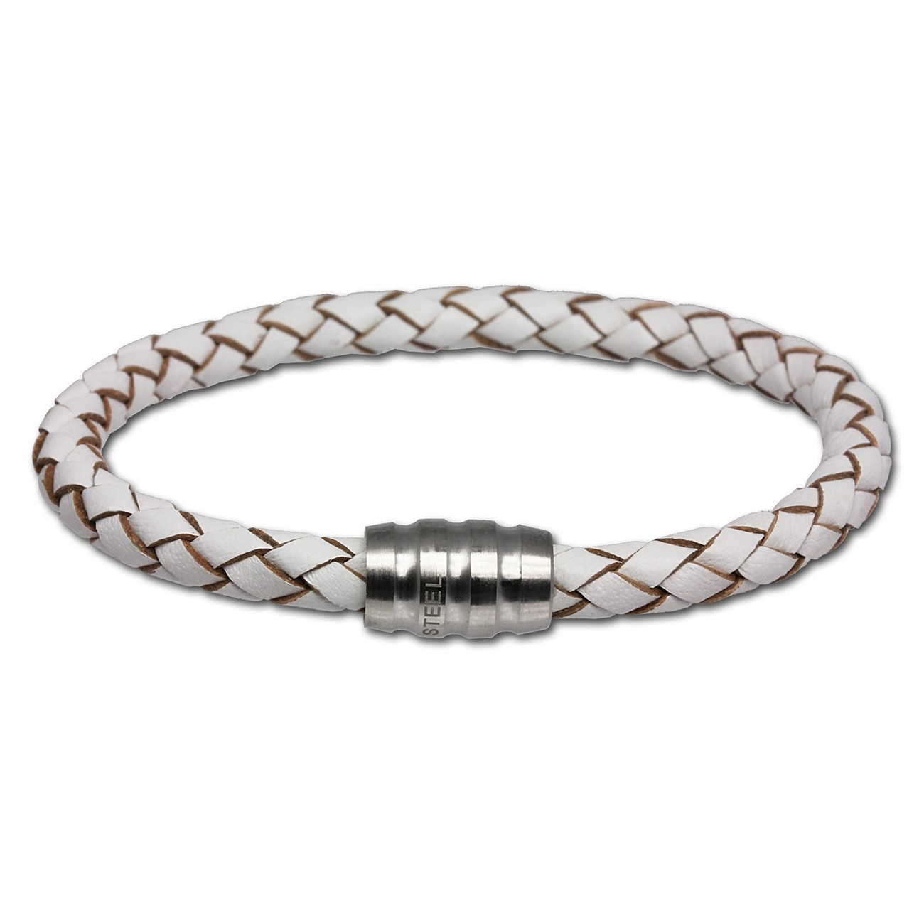 SilberDream Leder Armband weiß 18cm mit Edelstahl Verschluss LS1520