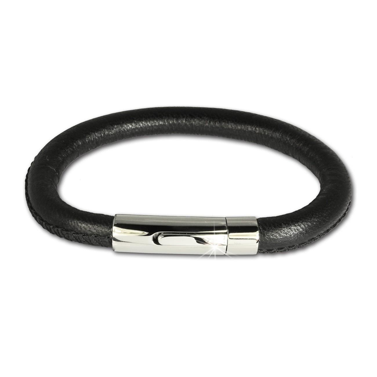 SilberDream Nappa Leder Armband schwarz mit Edelstahlverschluss LS1601