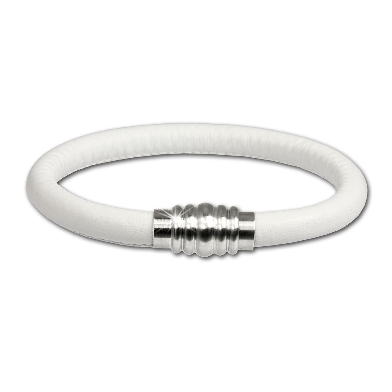 SilberDream Nappa Leder Armband weiß mit Edelstahlverschluss LS1621