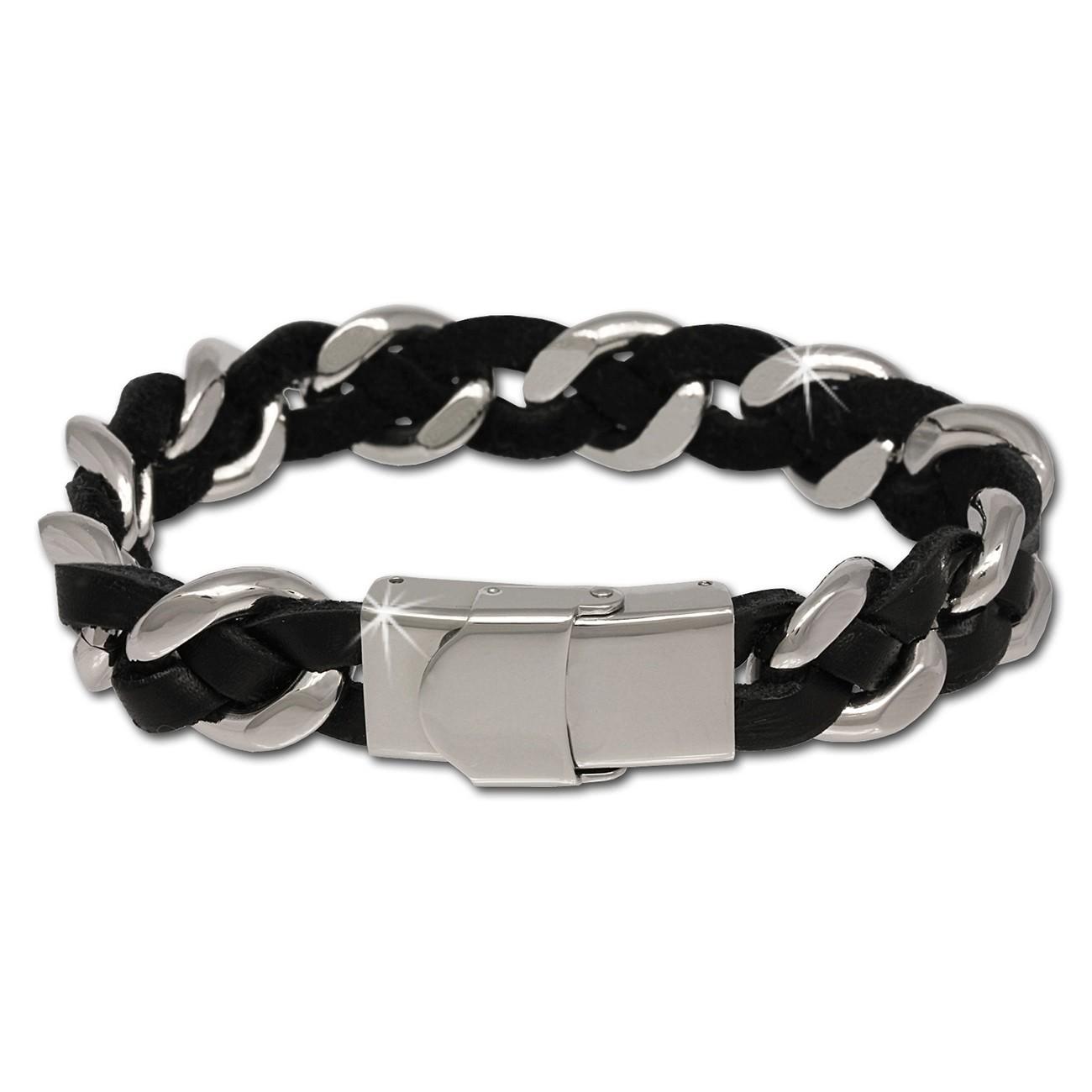 SilberDream Leder/Stahl - Armband Fantasie geflochten schwarz LS5002