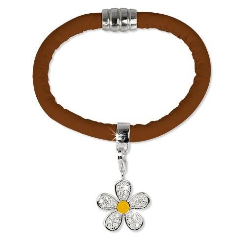 SilberDream Nappa Leder Armband Set braun 925 Silber Charm LSS06