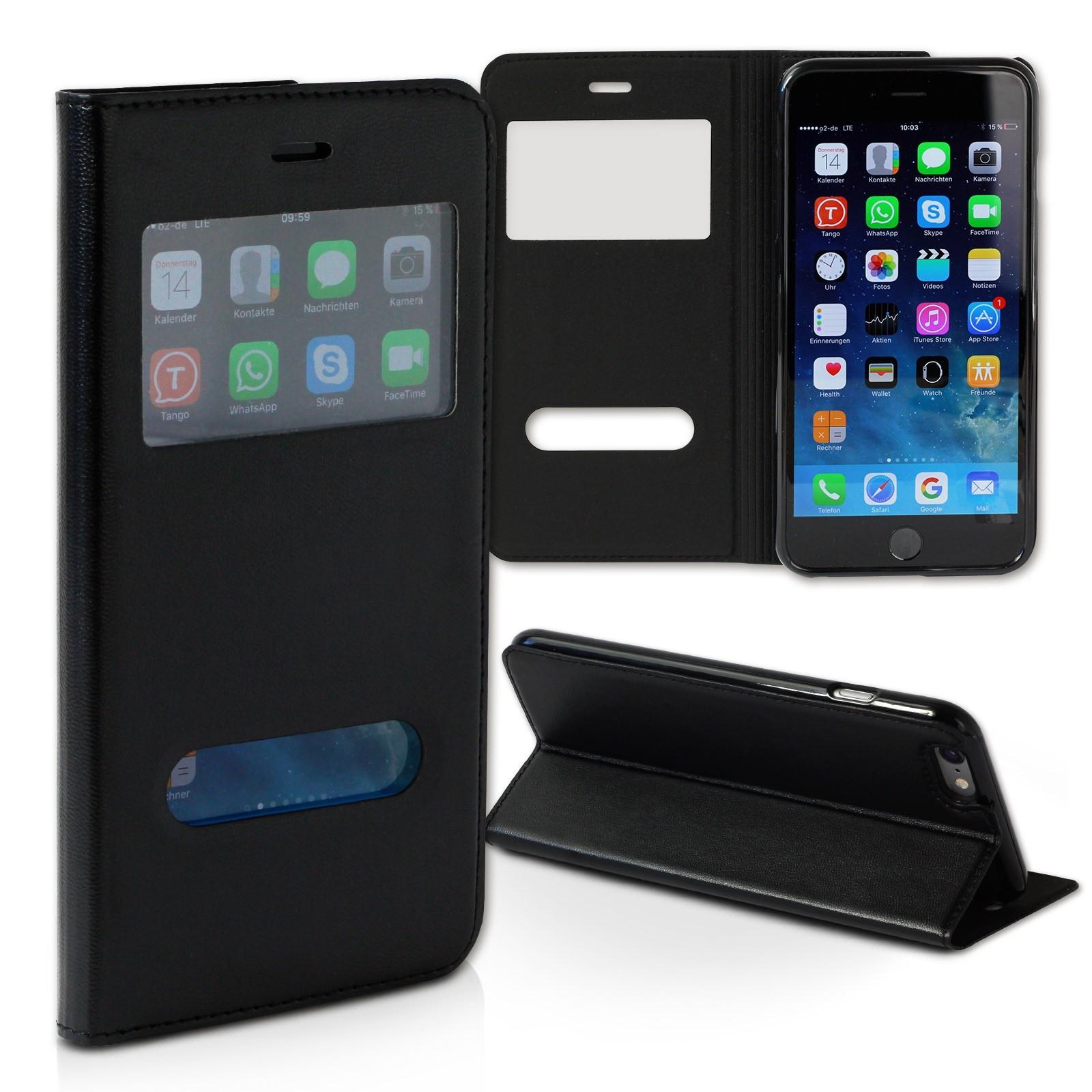 Handyhülle iPhone 6 schwarz Bookstyle Case Kunstleder DrachenLeder OME100S
