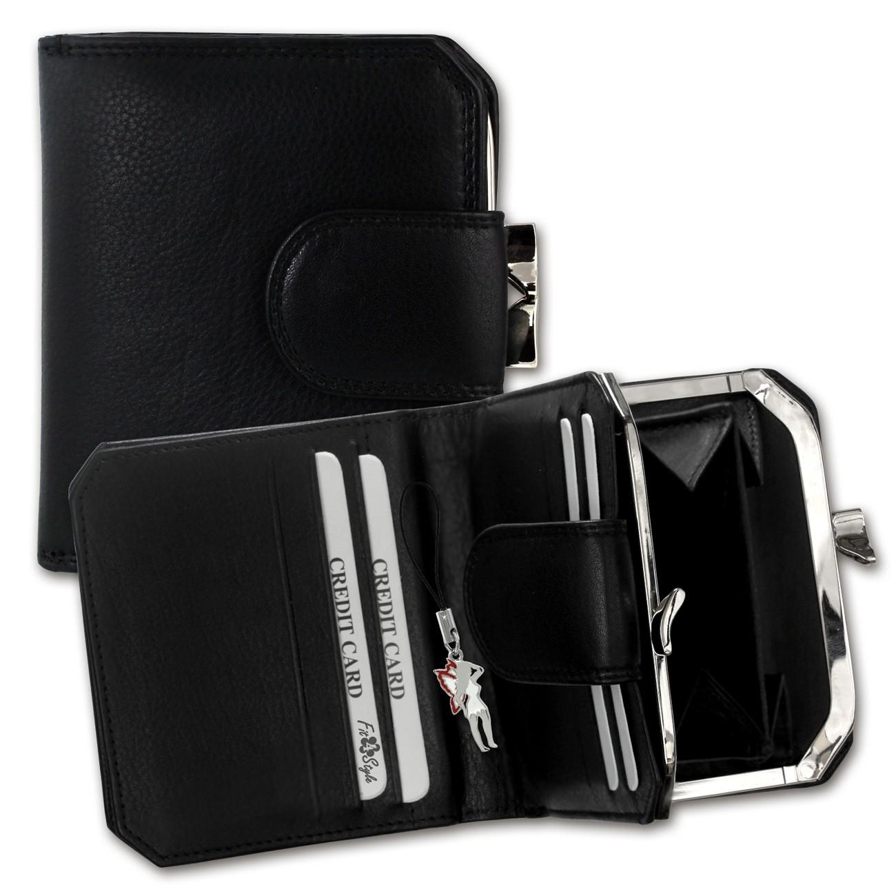 DrachenLeder Geldbörse schwarz Damen Portemonnaie Leder OPD103S