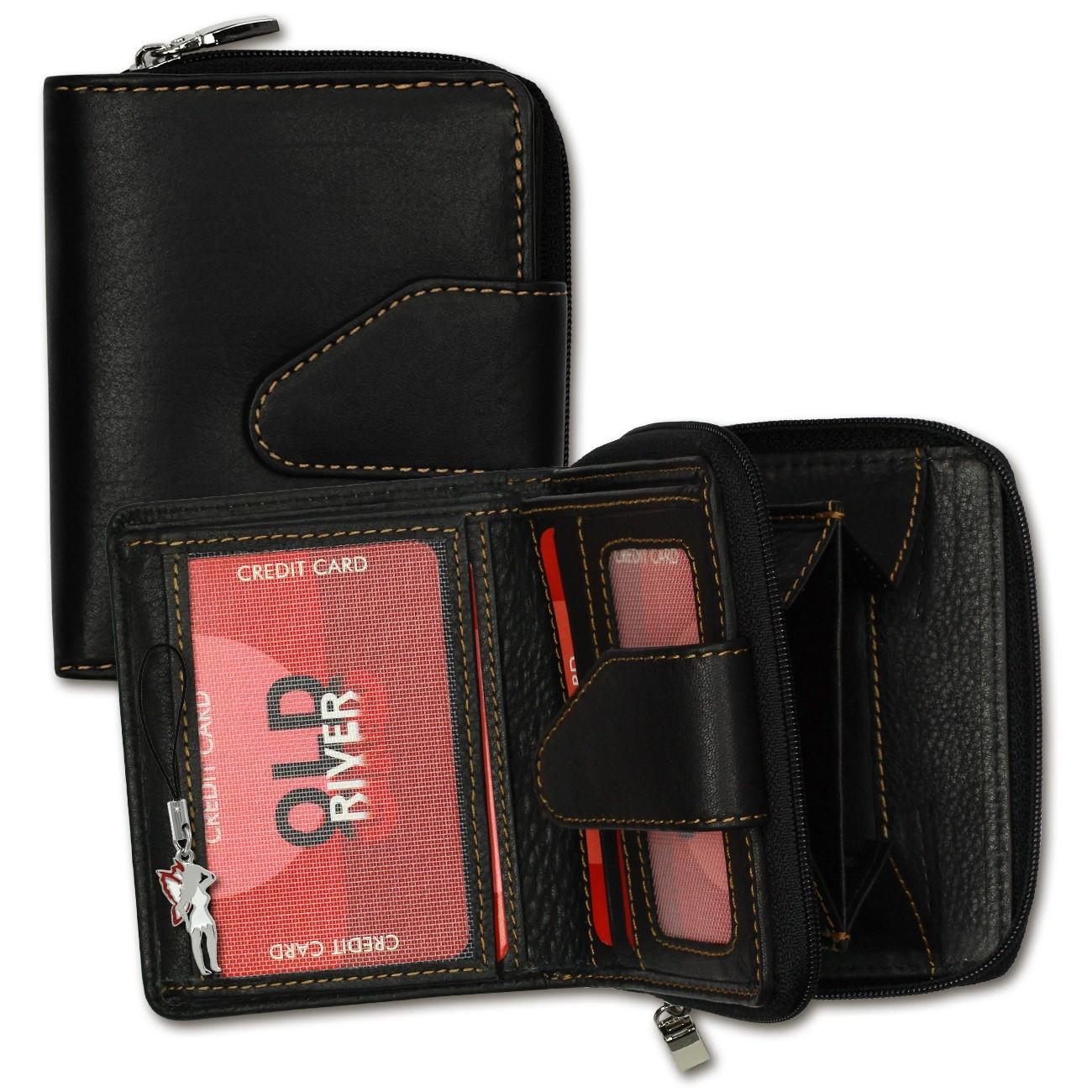 Geldbörse Leder schwarz kleines Portemonnaie Brieftasche Old River OPD104F