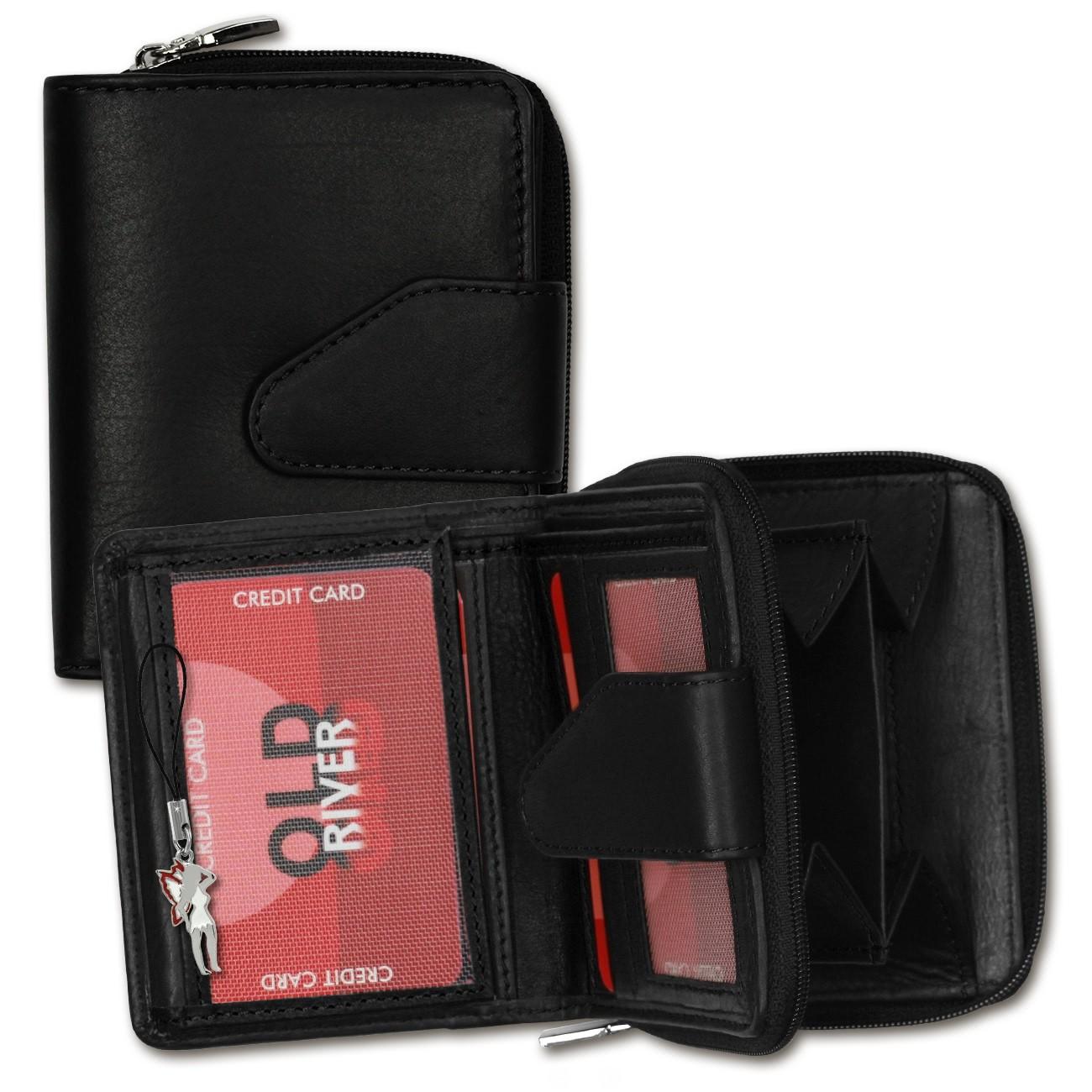Geldbörse Leder schwarz Portemonnaie kleine Brieftasche Old River OPD104S
