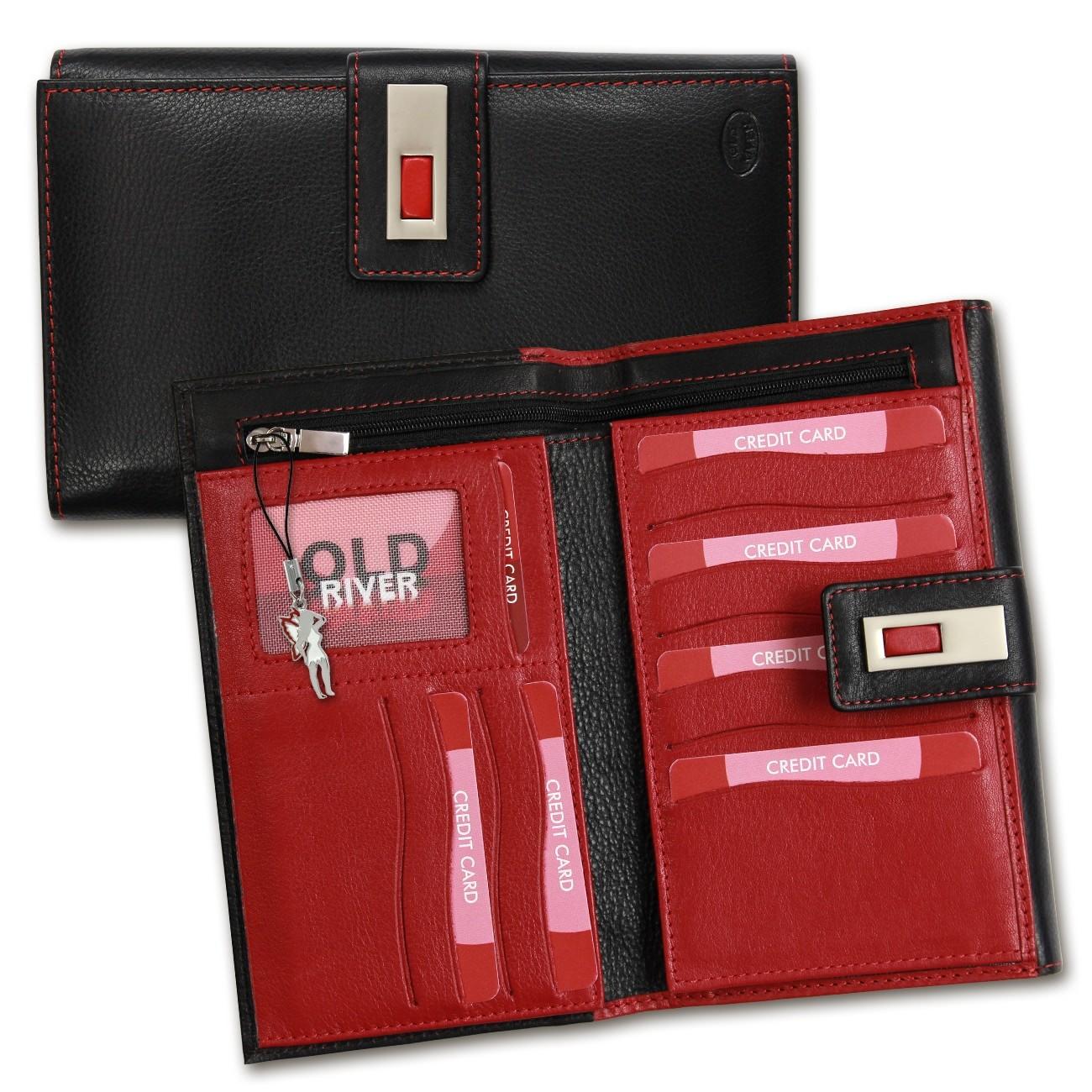Geldbörse Großes Portemonnaie Hochformat XXL Leder schwarz Brieftasche OPD700S