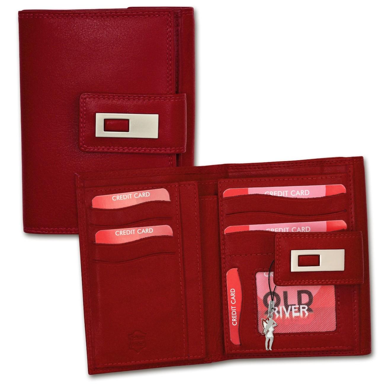Geldbörse Leder rot XL Brieftasche Portemonnaie Old River OPD701R