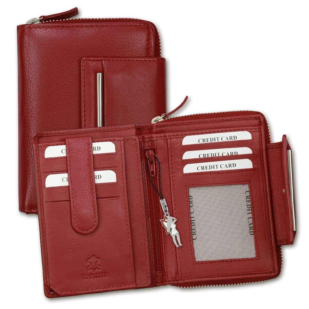 Geldbörse Leder rot Brieftasche Portemonnaie Hochformat DrachenLeder OPD716R
