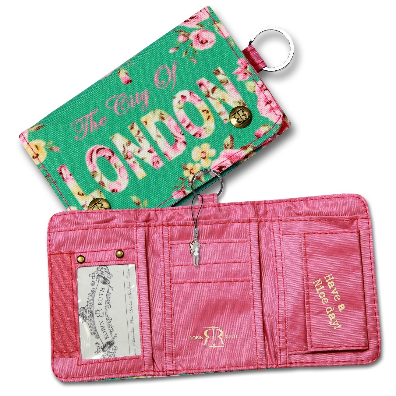 Minibörse Canvas grün pink Damen Portemonnaie Geldbörse Robin Ruth OPG101G