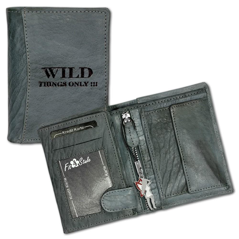 DrachenLeder Geldbörse blau-grau Portemonnaie Leder OPJ100B