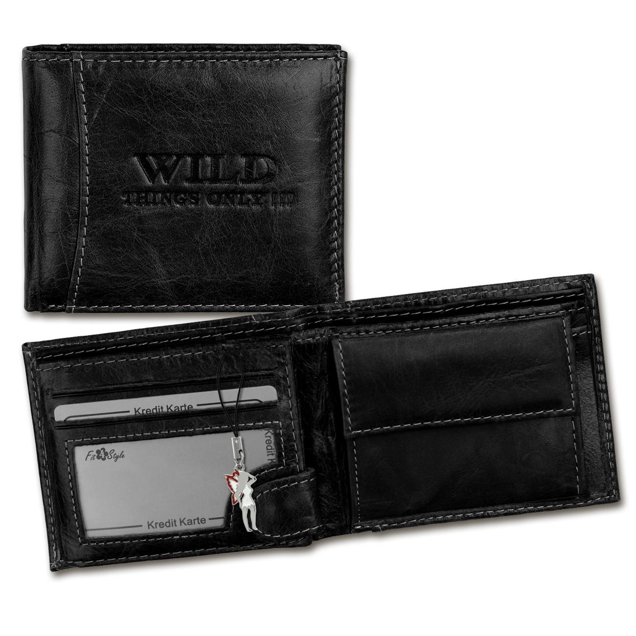 Geldbörse Leder schwarz Portemonnaie Brieftasche Wild Things Only OPJ102S