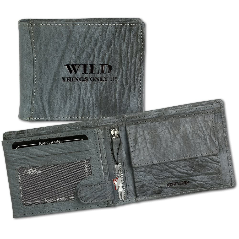 Geldbörse Querformat blau Leder Portemonnaie Wild Things Only OPJ103B