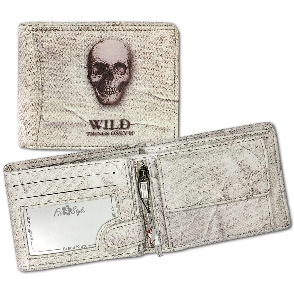 Geldbörse weiß marmoriert Totenkopf Portemonnaie DrachenLeder OPJ107W