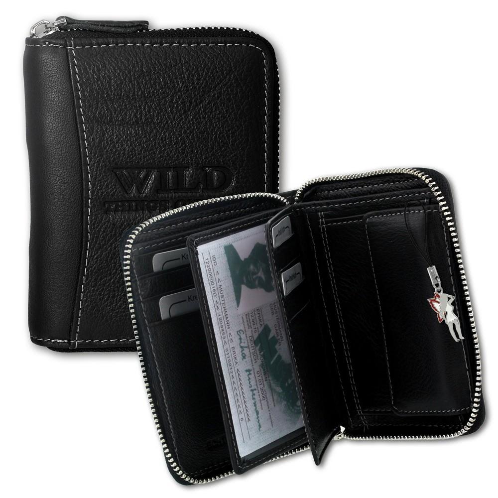 Geldbörse schwarz Leder Herren Portemonnaie Hochformat WildThingsOnly OPJ108S