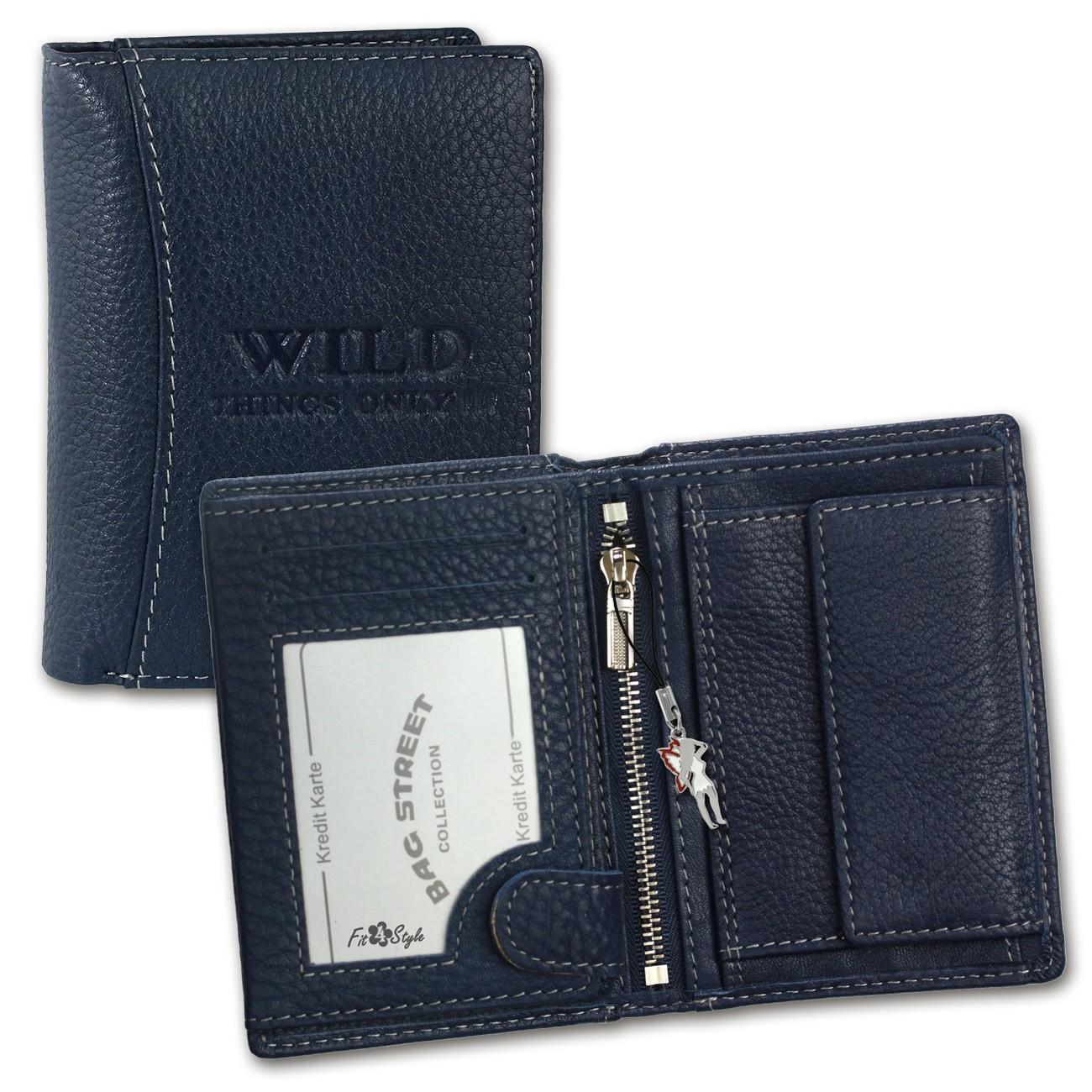 Geldbörse Leder blau Portemonnaie Geldbeutel Wild Things Only OPJ113B