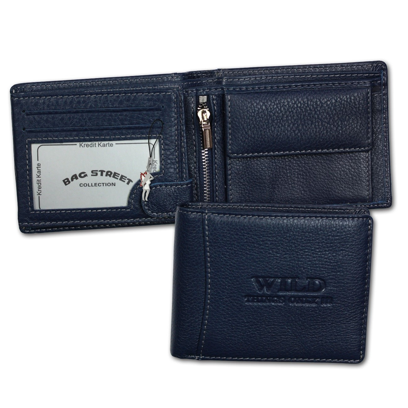 Geldbörse Leder blau Portemonnaie Querformat Börse Wild Things Only OPJ114B