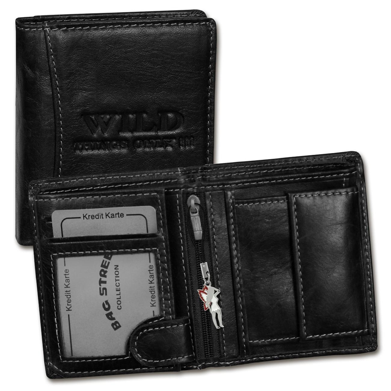 Geldbörse Leder schwarz Portemonnaie klein Brieftasche Wild Things Only OPJ115S