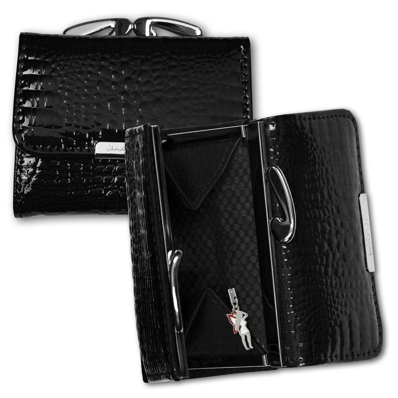 Geldbörse Leder schwarz kleines Portemonnaie Minibörse Jennifer Jones OPJ119S